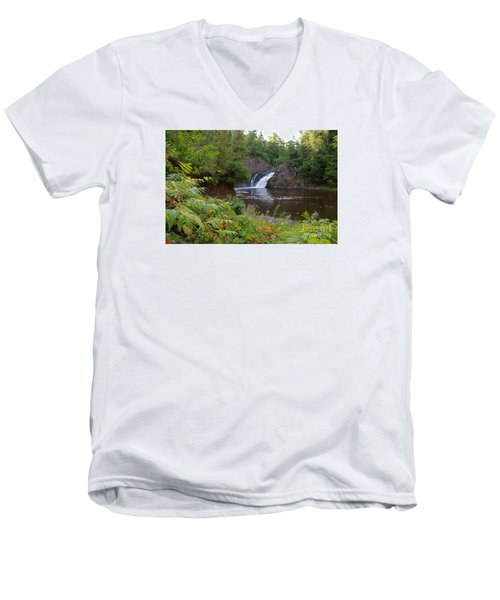 Men's V-Neck T-Shirt featuring the photograph Superior Falls by Sandra Updyke