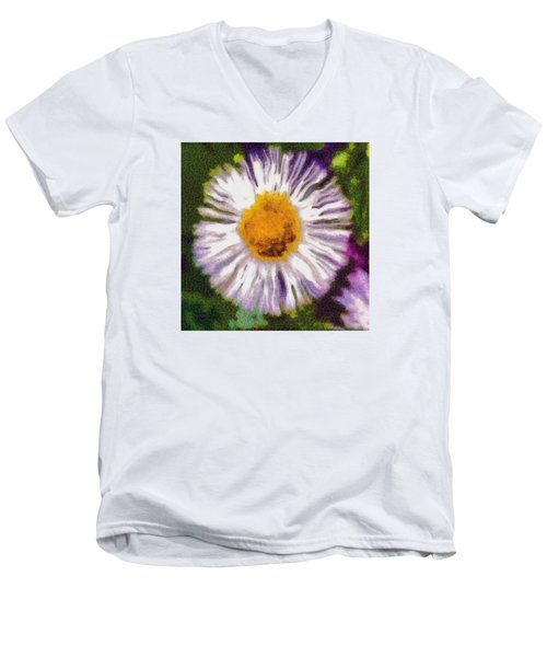 Men's V-Neck T-Shirt featuring the photograph Supernove Daisy by Spyder Webb