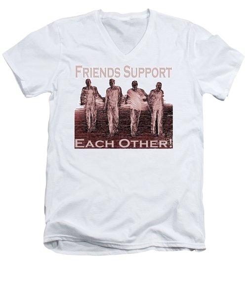 Support Friends In Bronze Men's V-Neck T-Shirt