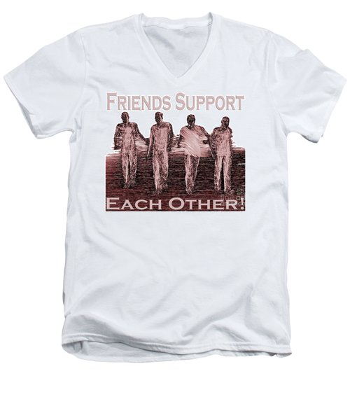 Support Friends In Bronze Men's V-Neck T-Shirt