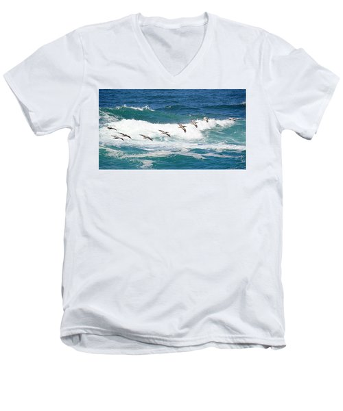 Surf And Pelicans Men's V-Neck T-Shirt