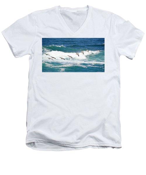 Surf And Pelicans Men's V-Neck T-Shirt