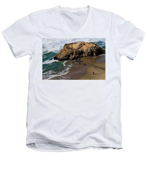 Surf Fishing At Ocean Beach Men's V-Neck T-Shirt