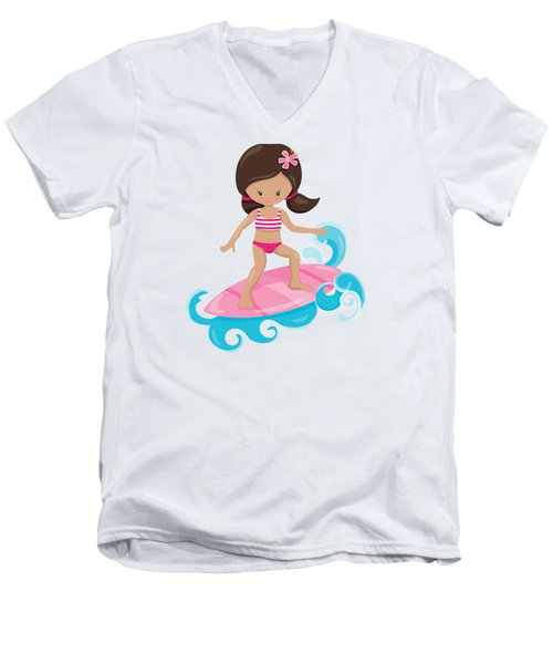 Surfer Art Catch A Wave Girl With Surfboard #19 Men's V-Neck T-Shirt