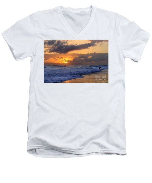 Surfer At Sunset On Kauai Beach With Niihau On Horizon Men's V-Neck T-Shirt by Catherine Sherman