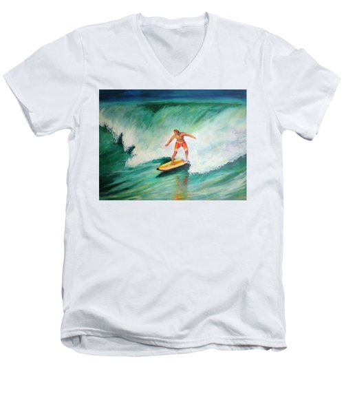 Men's V-Neck T-Shirt featuring the painting Surfer Dude by Patricia Piffath