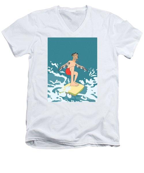 Surferbird Men's V-Neck T-Shirt by Megan Dirsa-DuBois
