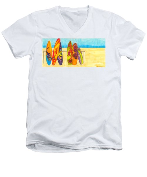 Surfing Buddies - Surf Boards At The Beach Illustration Men's V-Neck T-Shirt