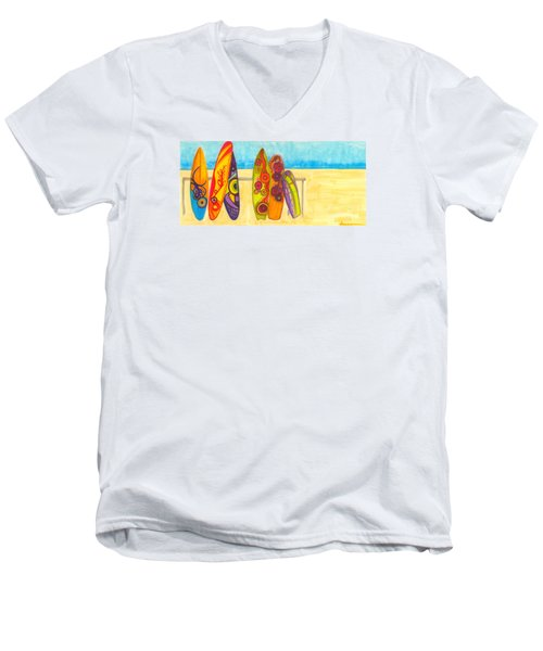 Surfing Buddies - Surf Boards At The Beach Illustration Men's V-Neck T-Shirt