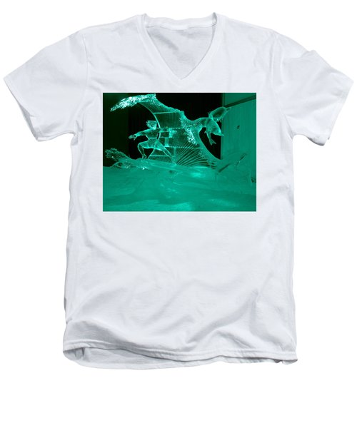 Surfing With Dolphins Men's V-Neck T-Shirt by Betty-Anne McDonald