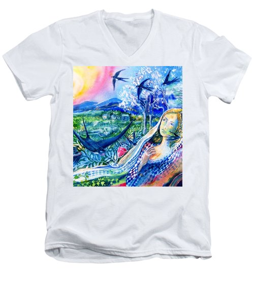 Surprised By A Swallow  Men's V-Neck T-Shirt by Trudi Doyle