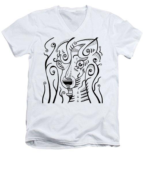 Surrealism Scream Black And White Men's V-Neck T-Shirt