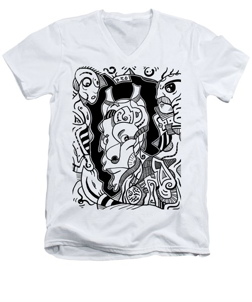 Surrealism Pagan Black And White Men's V-Neck T-Shirt