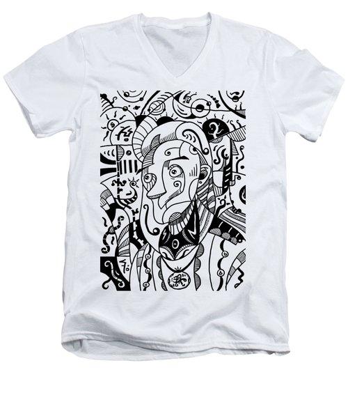 Surrealism Philosopher Black And White Men's V-Neck T-Shirt