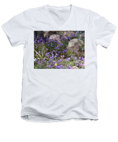 Surrounded By Purple Flowers Men's V-Neck T-Shirt