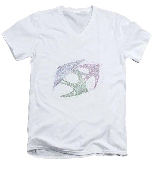 Swallow Birds Motion Design  Men's V-Neck T-Shirt