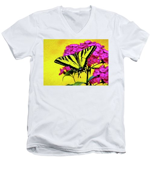 Men's V-Neck T-Shirt featuring the digital art Swallow Tail Feeding by James Steele