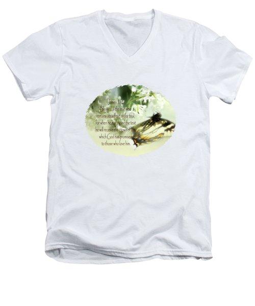 Swallowtail And Lilac Men's V-Neck T-Shirt by Anita Faye