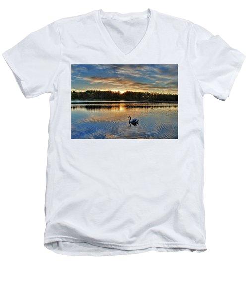 Swan At Sunset Men's V-Neck T-Shirt