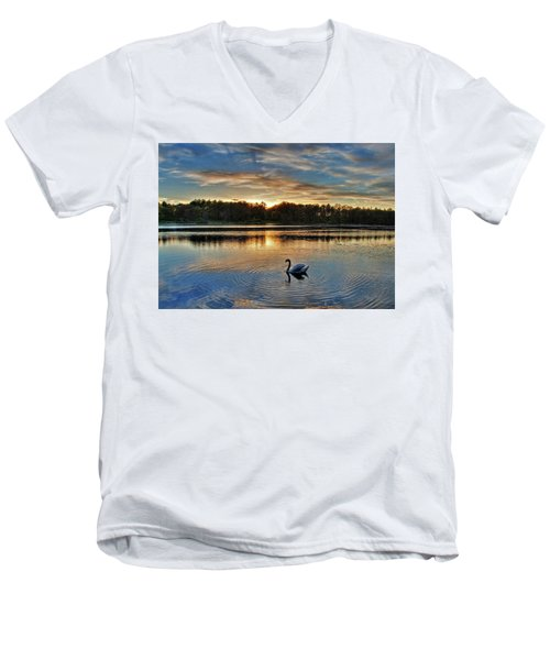 Swan At Sunset Men's V-Neck T-Shirt