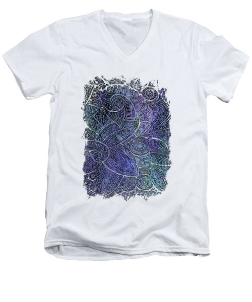 Swan Dance Berry Blues 3 Dimensional Men's V-Neck T-Shirt by Di Designs