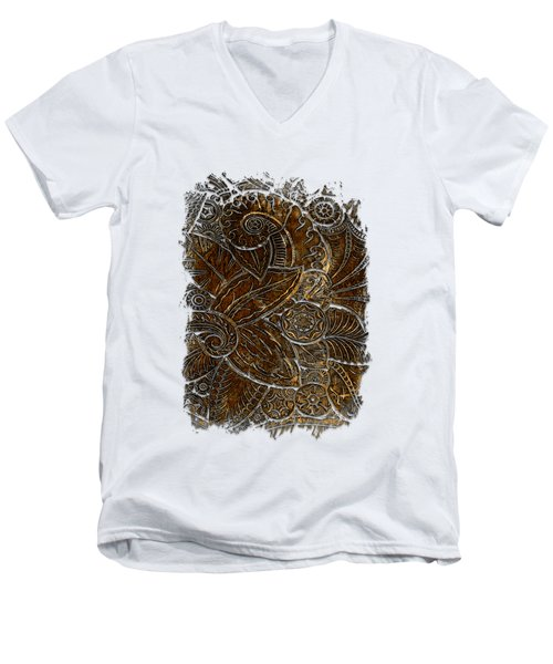 Swan Dance Earthy 3 Dimensional Men's V-Neck T-Shirt by Di Designs
