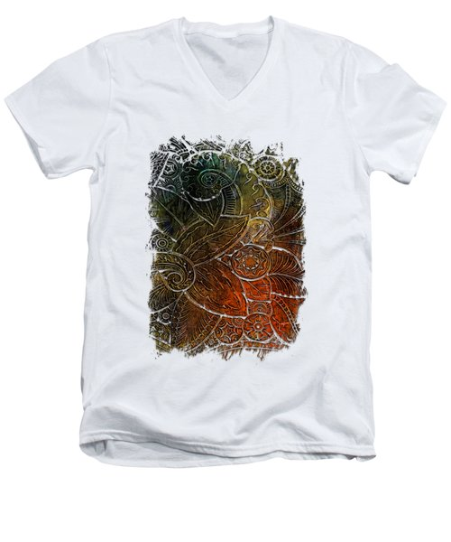 Swan Dance Earthy Rainbow 3 Dimensional Men's V-Neck T-Shirt by Di Designs