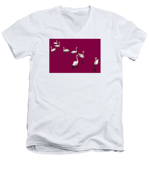 Men's V-Neck T-Shirt featuring the photograph Swan Family On Burgandy by Constantine Gregory