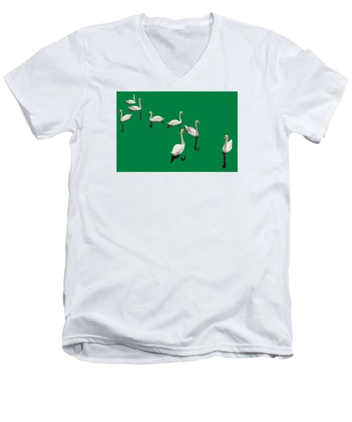 Men's V-Neck T-Shirt featuring the photograph Swan Family On Green by Constantine Gregory