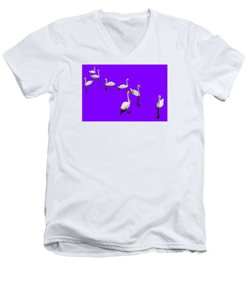 Men's V-Neck T-Shirt featuring the photograph Swan Family On Purple by Constantine Gregory