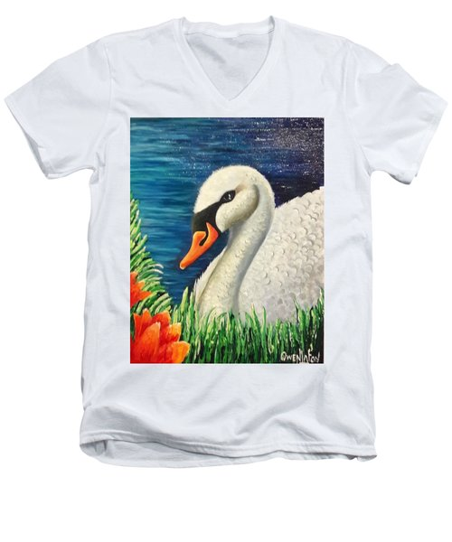 Swan In Pond Men's V-Neck T-Shirt
