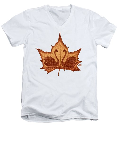 Swans Love On Maple Leaf Original Coffee Painting Men's V-Neck T-Shirt