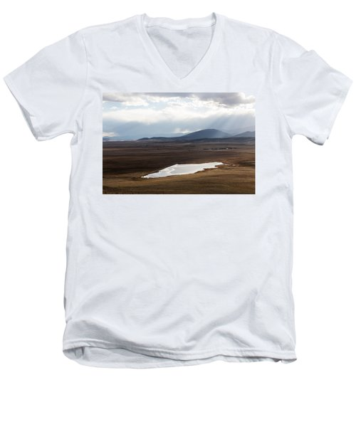 Men's V-Neck T-Shirt featuring the photograph Sweeping Plain And A Small Lake Between Mountain Foothills Near Fairplay In Park County by Carol M Highsmith