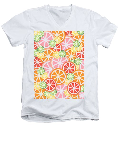 Sweet And Sour Citrus Print Men's V-Neck T-Shirt by Lauren Amelia Hughes