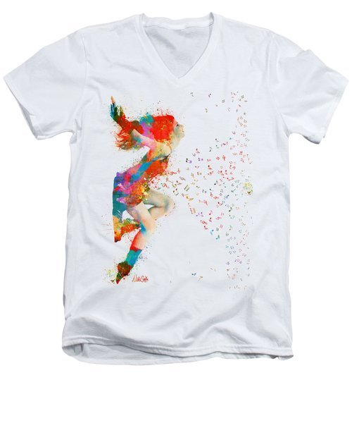 Sweet Jenny Bursting With Music Men's V-Neck T-Shirt by Nikki Smith