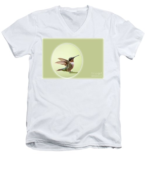 Men's V-Neck T-Shirt featuring the photograph Sweet Little Hummingbird by Bonnie Barry