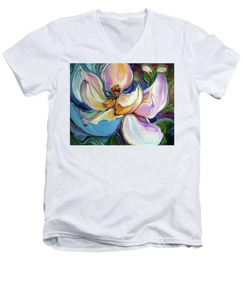 Sweet Magnoli Floral Abstract Men's V-Neck T-Shirt