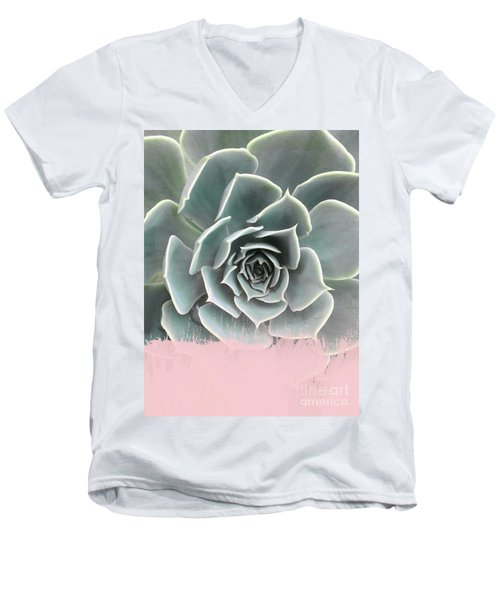Sweet Pink Paint On Succulent Men's V-Neck T-Shirt