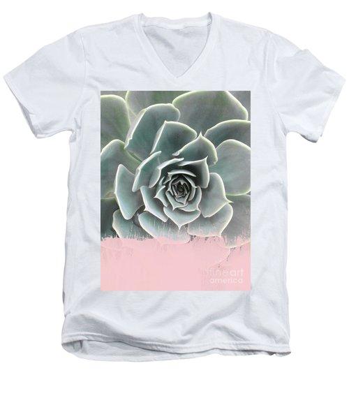 Sweet Pink Paint On Succulent Men's V-Neck T-Shirt