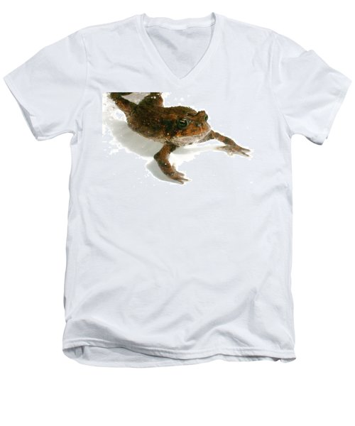 Men's V-Neck T-Shirt featuring the digital art Swimming Toad by Barbara S Nickerson