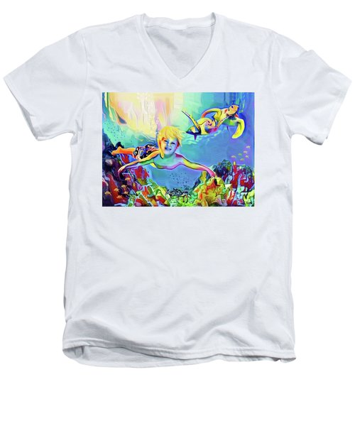 Swimming With Turtles Men's V-Neck T-Shirt by Jann Paxton
