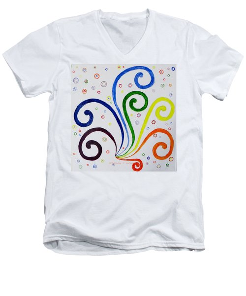Men's V-Neck T-Shirt featuring the painting Swirls by Sonali Gangane