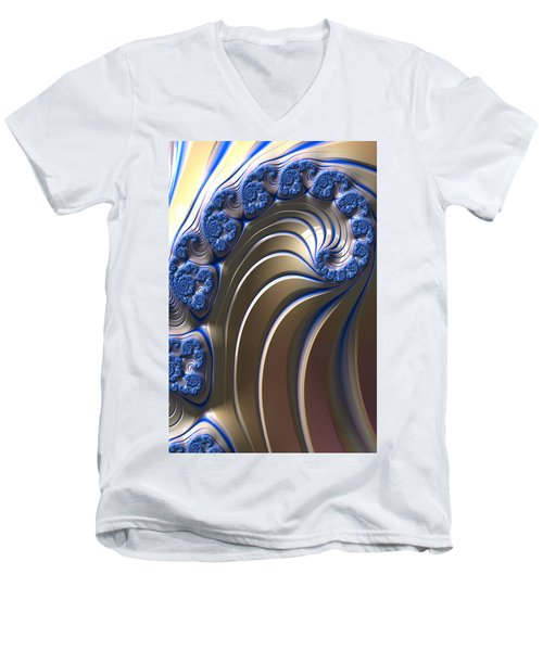 Men's V-Neck T-Shirt featuring the digital art Swirly Blue Fractal Art by Bonnie Bruno