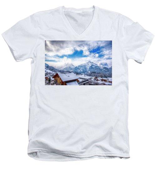 Swiss Alps Men's V-Neck T-Shirt by Pravine Chester