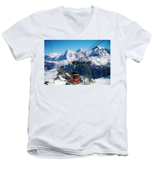 Switzerland Alps Schilthorn Bahn Cable Car  Men's V-Neck T-Shirt