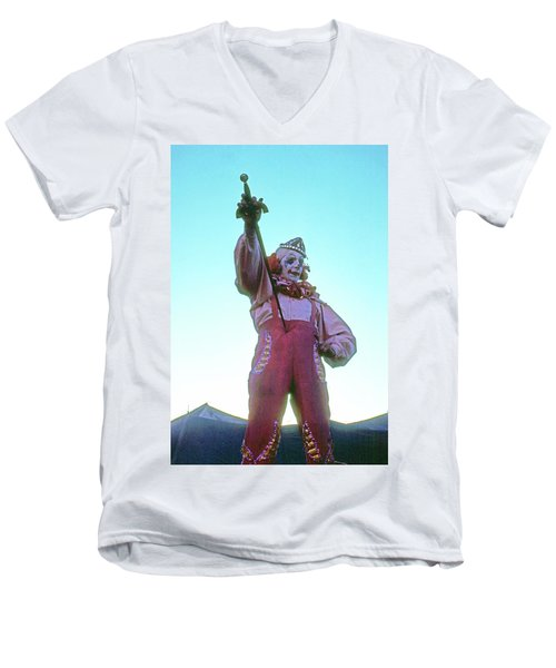 Men's V-Neck T-Shirt featuring the photograph Sword Swallower by Laurie Stewart