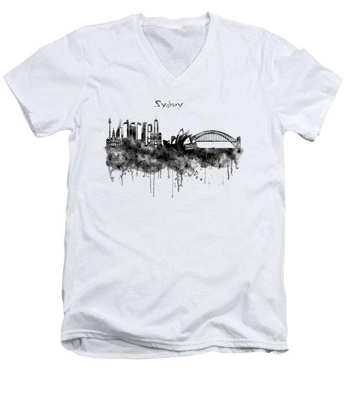 Sydney Black And White Watercolor Skyline Men's V-Neck T-Shirt