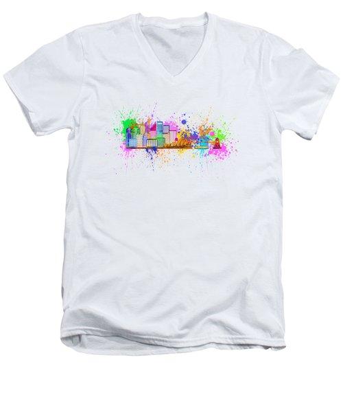 Sydney Harbor Skyline Paint Splatter Illustration Men's V-Neck T-Shirt