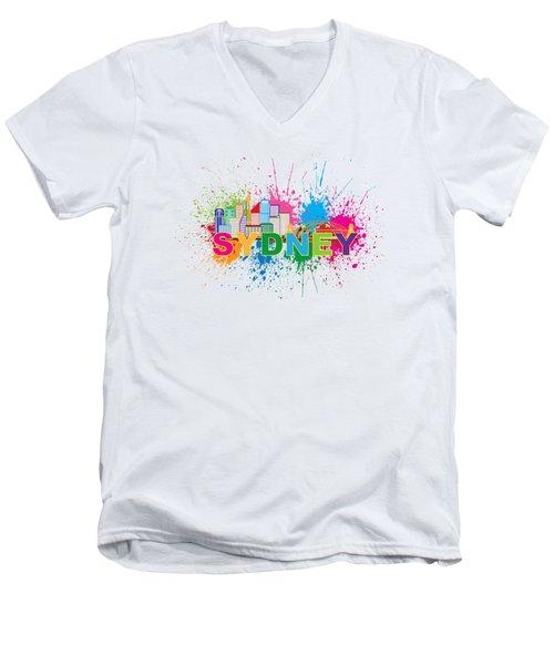 Sydney Harbor Skyline Paint Splatter Text Illustration Men's V-Neck T-Shirt