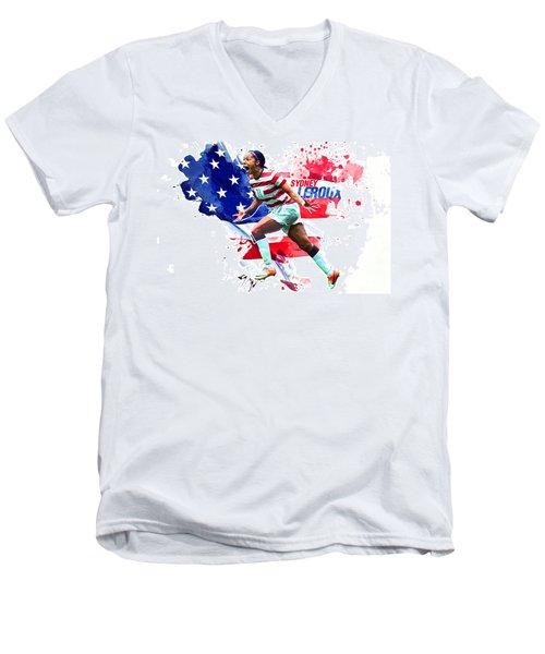 Sydney Leroux Men's V-Neck T-Shirt by Semih Yurdabak